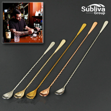 Стойкая ложка для напитков из нержавеющей стали с длинной ручкой 450 мм, барная ложка из нержавеющей стали, инструменты бармена