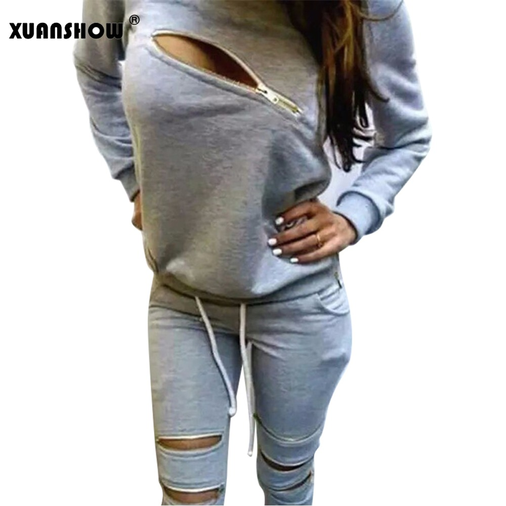 XUANSHOW Fashion Zipper Hollow Out Women Tracksuits Suit O-Neck Long Sleeve Womens Hoodies 2 Piece Set Sportswear Moletom