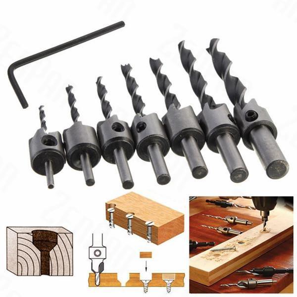 7pcs 3mm-10mm HSS 5 Flute Countersink Drill Bit Set Carpentry Reamer Wood Working Chamfer Endmilling hand tools new 4pcs lot hss counter sink bit set 5 flute countersink drill bit set hex shank screw reamer 3 6mm woodworking cham