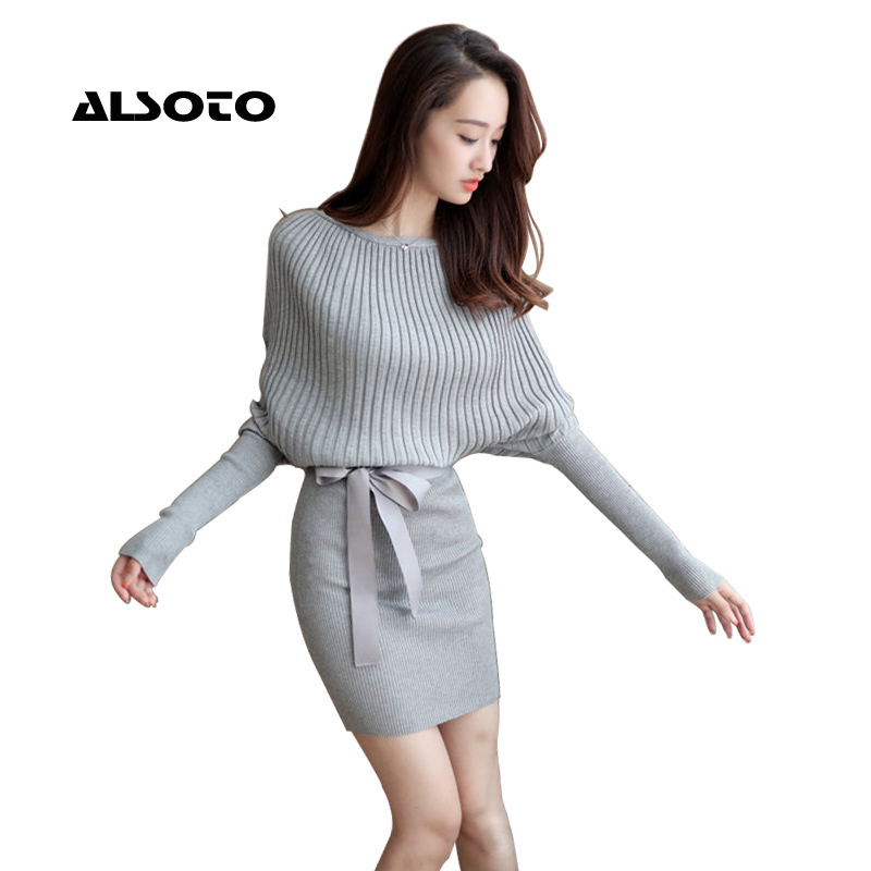 2017 Autumn Winter Sweater Plus Size Batwing Sleeve Bodycon Dress Elastic Brief Grey Knitted Dress Women