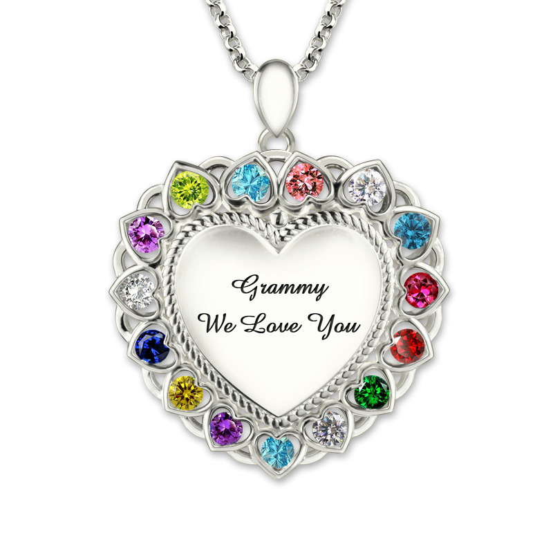 Heart Pendant Necklace with Birthstone Sterling Silver Personalized Engraved Grandma Necklace
