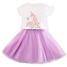 AmzBarley Toddler Girls Unicorn tutu Dress 2 pieces Cotton tops Lace princess dress Birthday party outfits kids summer clothing цена и фото