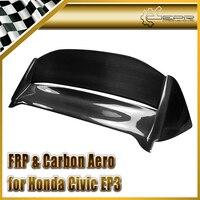 Car styling For Honda Civic EP3 02 05 Hatchback Carbon Fiber Mugen Style Spoiler(USDM) Glossy Fibre Roof Wing Auto Body Kit Trim