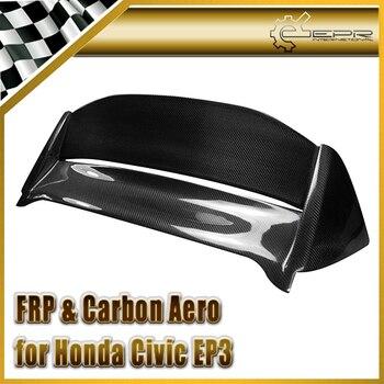 For Honda Civic EP3 02-05 Hatchback Mugen Style Carbon Fiber Spoiler(USDM) Glossy Finish Roof Wing Fibre Splitter Lip Kit Trim