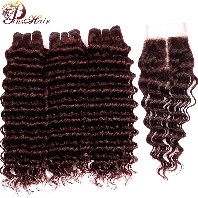 Pinshair Colored Human Hair Bundles with Closure Burgundy Deep Wave Brazilian Hair Weave Bundles with Lace