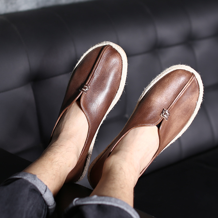 2019 men shoes Leather men Leisure shoes mens genuine leather male comfortable Bullock shoes Cowhide Hand knitted Mocassin X4-32