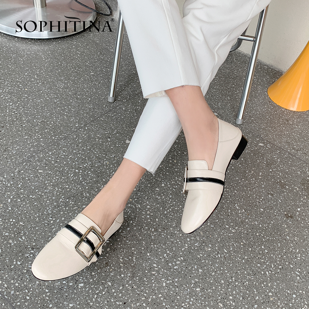 SOPHITINA Comfortable Mules Flats High Quality Cow Leather Fashion Patchwork Round Toe Shoes Metal Decoration Women