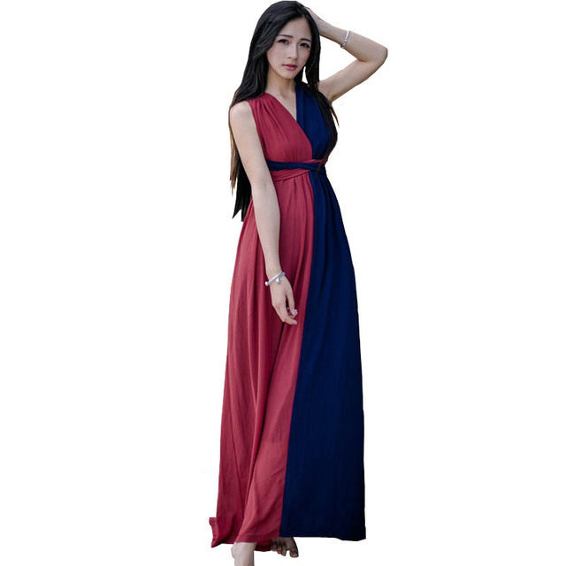 Thailand Women Long Summer Dress Blue Red Patchwork Crossback Bohemian  Beach Dress Retro Striped Dress Vestidos Longos De Verao dba60e48afcf