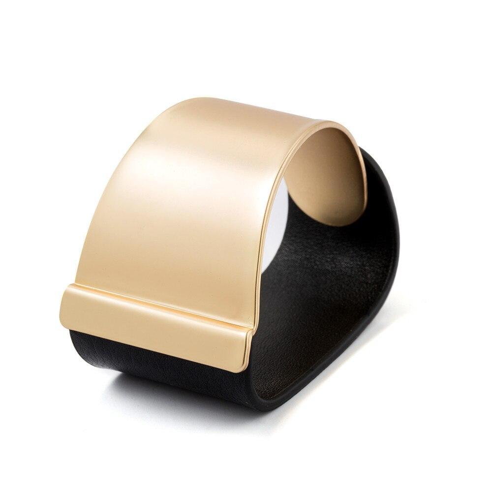 Pulseira de Couro De metal Jóias de Ouro Pulseiras Largas Para Mulheres Pulseira Acessório Ornamento Pop Moda Novas pulseiras sieraden