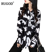 RUGOD 2018 Women's Tops And Blouses Female Bow Tie Collar Long Sleeve Chiffon Blouse Elegant Office Lady Shirt Plus Size Blusas