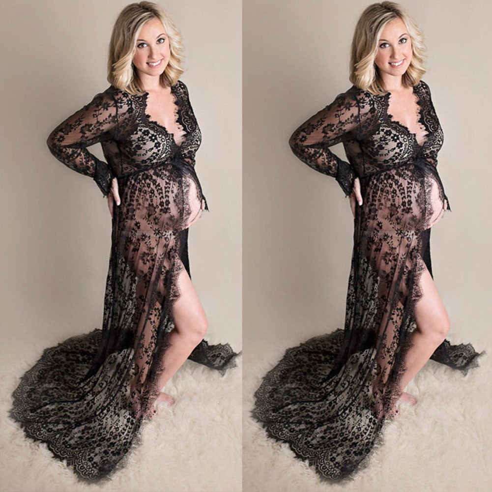 ad4c1c475c080 MeiHuiDa 2018 New Style Fashion Maternity Lace Dress Pregnant Photography  Photo Props See Through Fancy Women