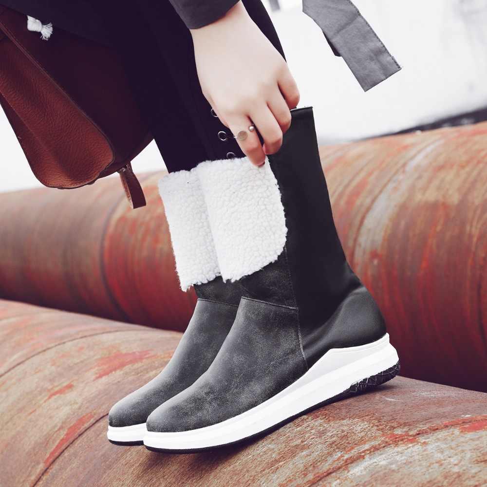 Femmes bottes imperméable chaussures d'hiver talon haut garder au chaud neige Botas Mujer 2018 noir marron femme dame classe chaussures grande taille 4243