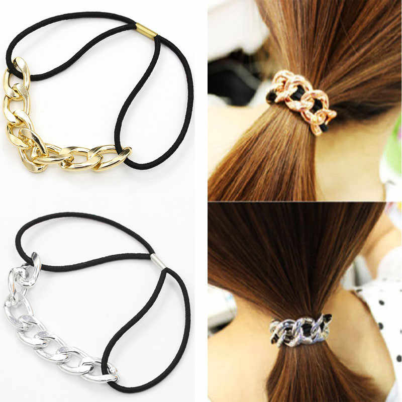 1 Pcs Women Girls Elastic Hair Bands Gold Silver Metal Chain Headband DIY Knot Hair Rope Ponytail Holder Hair Styling Tools