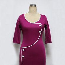 Womens Vintage Brief Split Bottom Elegant Casual Work 3/4 Sleeve O-Neck Bodycon Knee Women Office Pencil Dress 2016 Plus size