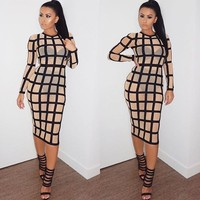 Clebrity Fashion Long Sleeve Knee Length Black Nude Mesh Hollow Out Plaid Bandage Dress Sexy Party