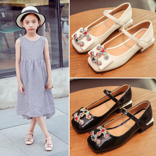 Autumn 2018 Girls Rhinestone Embellished Bow Flats Square Heels Children PU Leather Princess Dress Shoes Toddler/Little/Big Kid