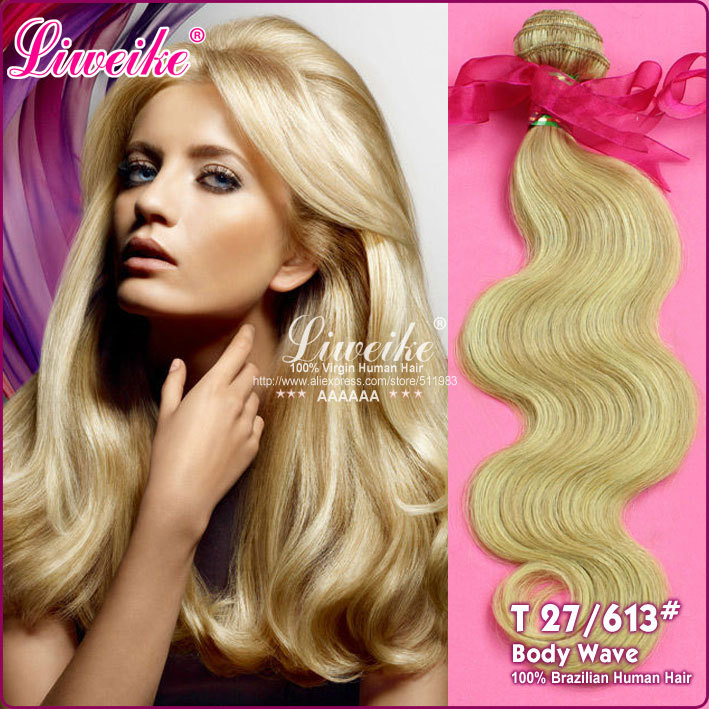 """Liweike hair products top fashion #27/613 piano color 1pcs/lot 16""""-26"""" ombre hair extensions"""