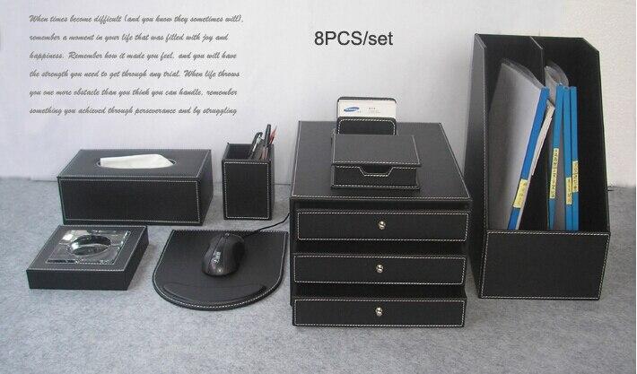 De luxe 8 Pcs/ensemble bois bureau en cuir bureau fichier papeterie  accessoires \u0026 organisateur