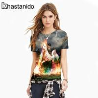 2017 Cat Rider Horse 3d Print O Neck Women Tee Shirts Short Sleeve Shirts Plus Size