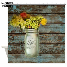 warm tour country mason jar flower shower curtain fabric polyester waterproof mildew resistant bathroom curtain wtc069