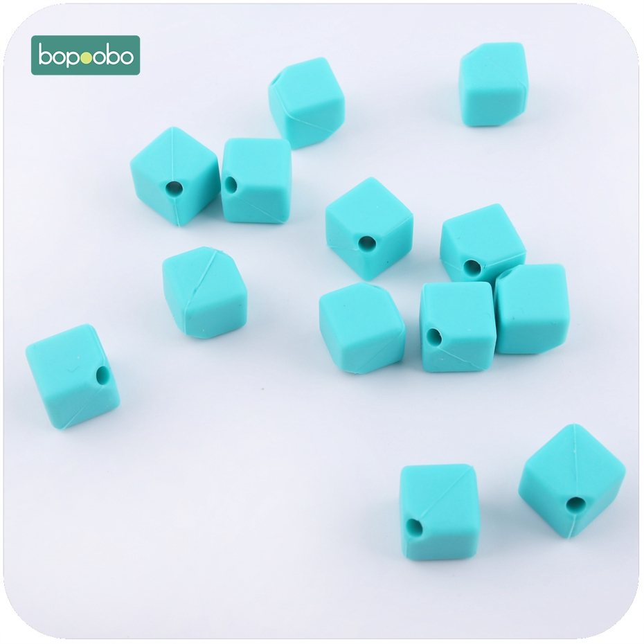 Cube Square Silicone Teething Beads Chewable Necklace DIY Baby Teether Making