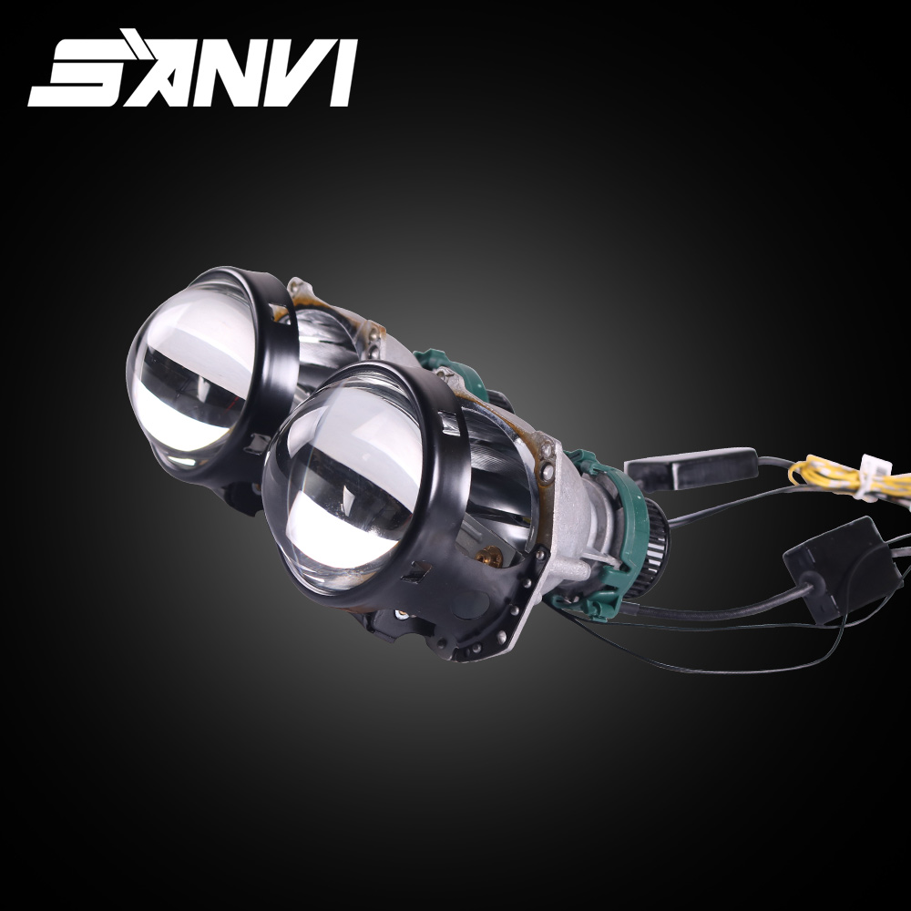 Sanvi 2pcs 40W 6000K 3Inch HD LED Lens With D2H LED Headlight Devil Eyes for Car Headlight