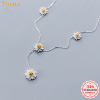 Trustdavis 100% 925 Sterling Silver 8 Small Daisy Pendant Long Necklace High Quality Made Gift For Teen Girls Wife DA322