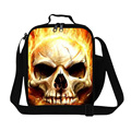 Personalized Skull lunch cooler bags for boys,insulated lunch container for men work messenger lunch bag for children school