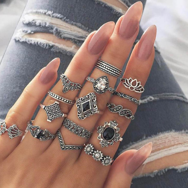 Gothic Gold Wedding Ring Vintage Crown Water Drops Star Geometric Crystal Rings Set Women Charm Joint Ring 2019 Fashion Jewelry