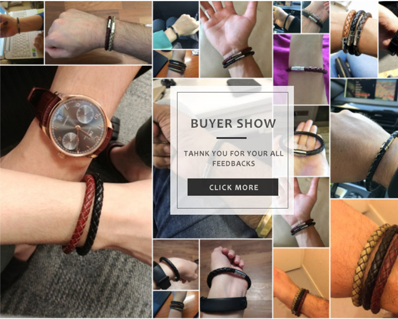 Genuine Leather Bracelet Men Stainless Steel Magnetic Clasp Handmade Men Bracelets Bangles Braided Leather Bracelet Wholesale