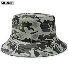 SILOQIN New Jungle Camouflage Hat Adult Mens Cotton Army Bucket Hats Anti-UV Womens Flat Cap Beach Fishing Caps Unisex