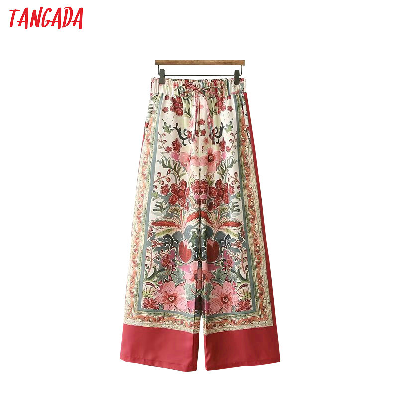 Tangada summer woman floral print red   wide     leg     pants   bow tie pocket retro female streetwear casual trousers mujer XD290