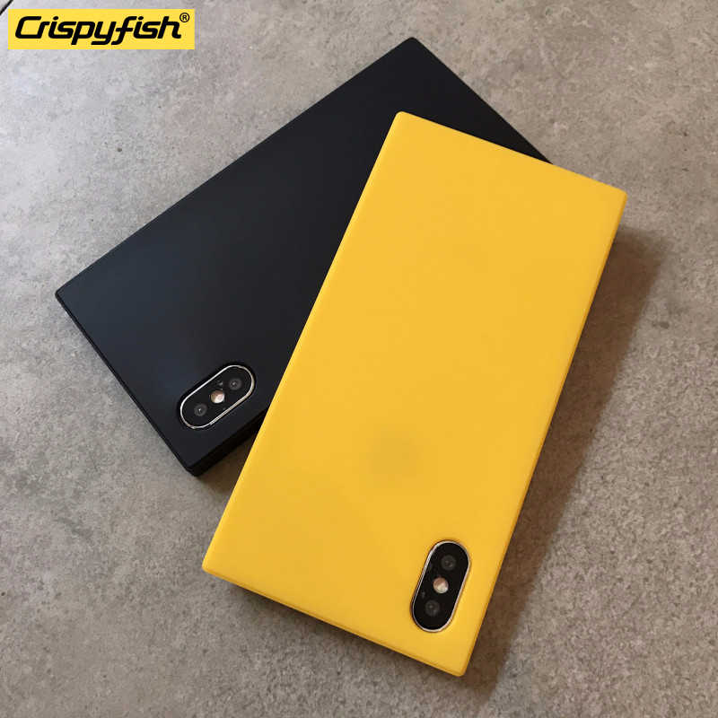 Crispyfish quadrado matte simples caso de telefone para iphone 7 8 plus tpu macio silicone capa simples para 6s x xs