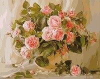 MaHuaf X636 Digital Oil Painting On Canvas Handwork Gift Pink Rose Flower 40x50cm Framed Handwork Pictures