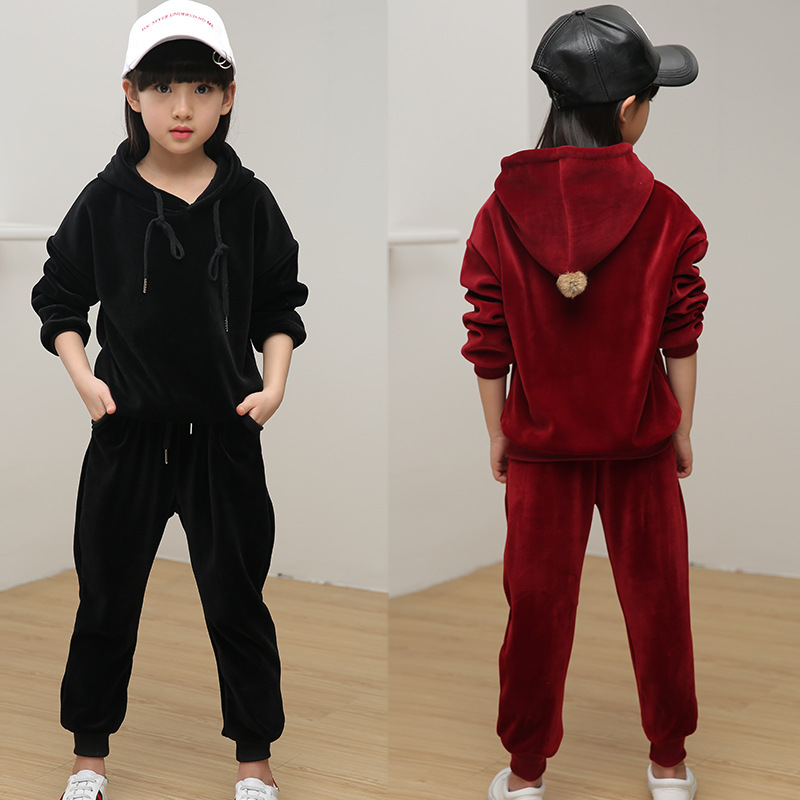 Baby Girls Velvet Hoody Clothing Set Children kids Girls Comfortable Sport Tracksuit Girls Winter Autumn Warm Suit Clothes L434 girls winter clothes children clothing sets kids sport suit butterfly print cotton clothes girls clothing set kids tracksuit 3pc