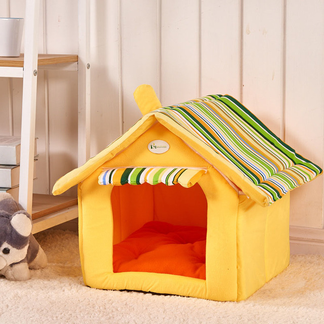 New Fashion Striped Removable Cover Mat Dog House Dog Beds For Small Medium Dogs Pet Products House Pet Beds for Cat 2