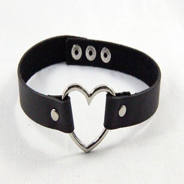 1pc femmes Punk CHIC Rivet fait à la main chaîne en cuir PU coeur col ras du cou collier fine bijoux belle