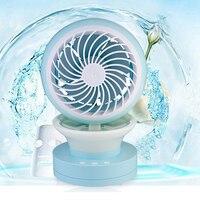 Neue Sommer Luftbefeuchter Mini Fan USB Wiederaufladbare Wassernebelventilator Mit Nachtlicht Office Home Runden Tisch Sockel Lüfter
