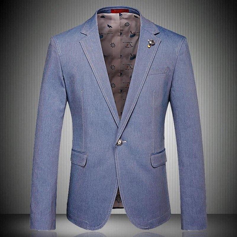 Вымытый синий, размера плюс, приталенный Блейзер для досуга для мужчин, однотонный, осенний, Новый Блейзер, Masculino, с отворотом, модный костюм, ...