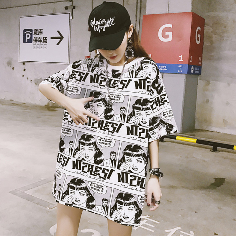 korean style summer big size   T  -  shirt   for Female Ulzzang cartoon Anime print   T     Shirts   Harajuku loose Women Tops O-Neck Tee   Shirt