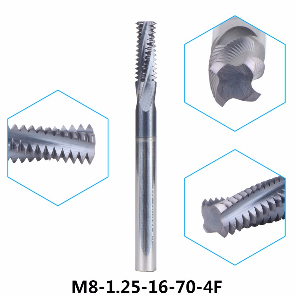 1pc M8-1.25-16-70-4F Tungsten Carbide thread end mill M8 thread milling cutters P1.25 with TIALN coating Metric 1.25mm Pitch блузка cavandoli