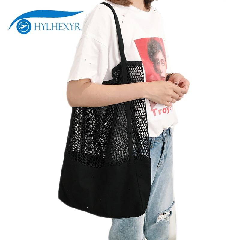 Hylhexyr Shopping Bag Canvas Mesh Beach Bag Summer Tote Single Shoulder Bags Travel Toiletry Organizer Handbag For Ladies