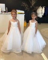 Ivory organza sheer neck flower girl dress with lace sleeveless zipper back ball gown princess holy the first communion dresses