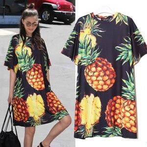 Image 2 - 2020 Stile coreano Donne di Estate Stampa Ananas Casual Vestito Dalla Spiaggia Più Il Formato Nero Rosa Vestito Estivo Carino Midi Dress abiti 2163