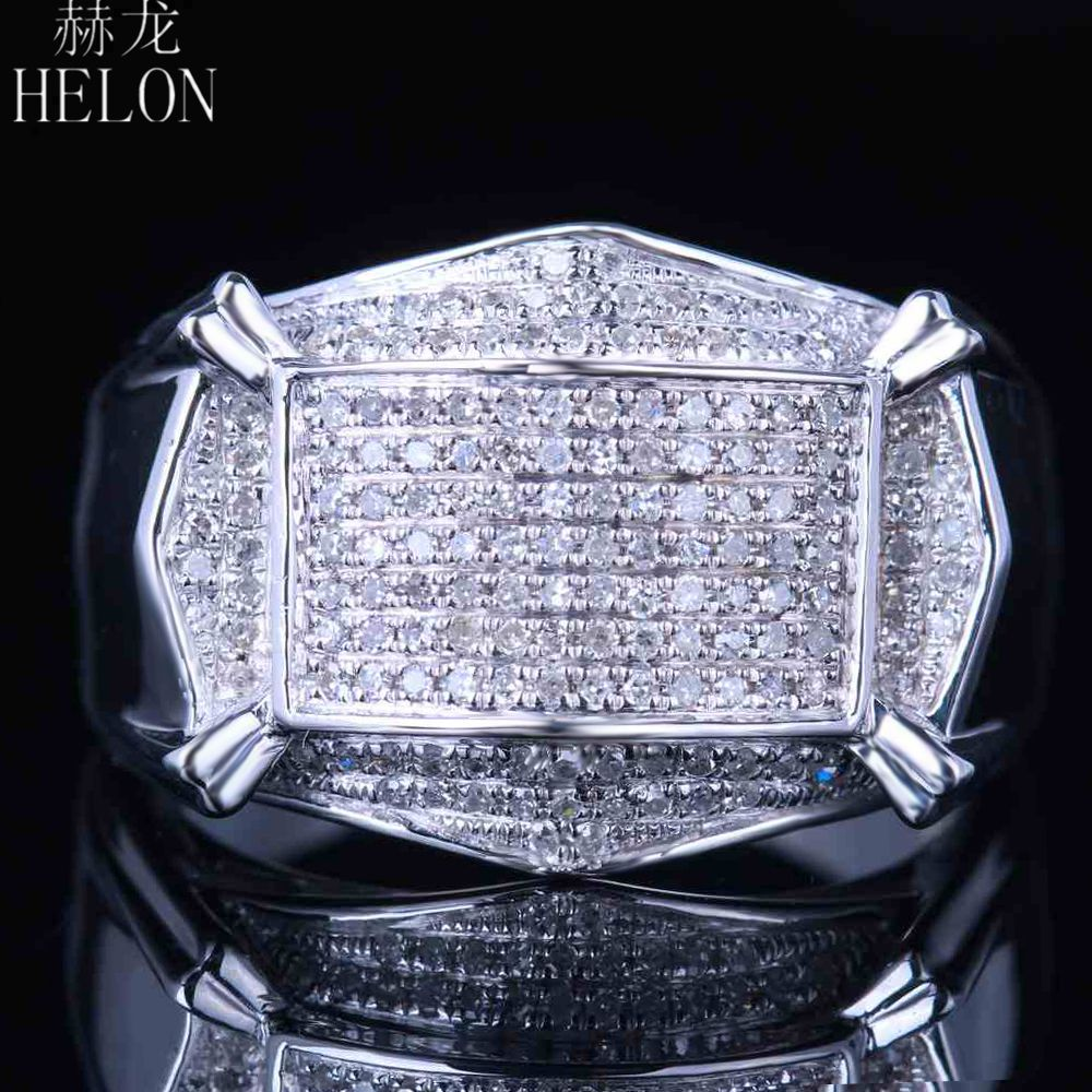 Helon Real Diamonds Mens Ring Sterling Silver 925 Mens Band ! Pave Natural Diamonds  Engagement Designer