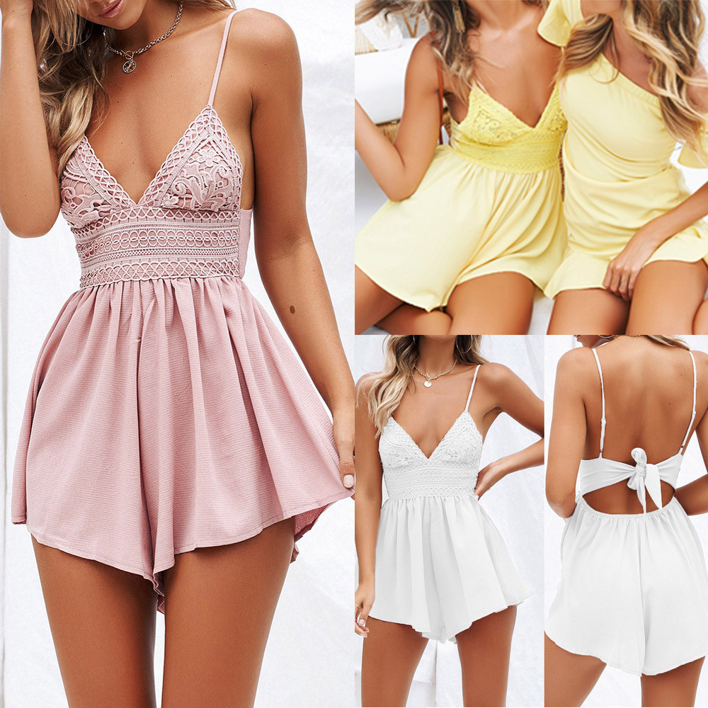 Ppopular Women Summer Bowknot Backless Mini Jumpsuit Polyester Solid V neck Sweet Womens Summer Bodysuits #41710