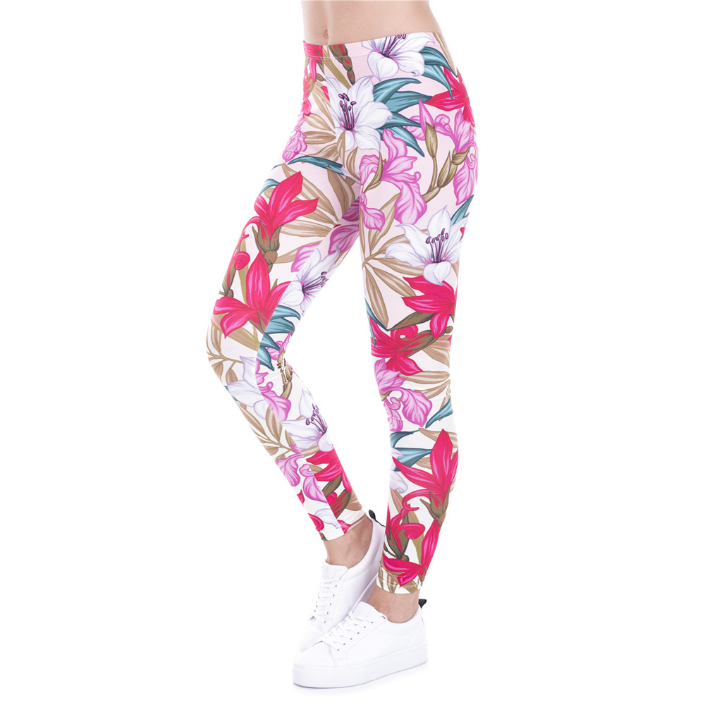 New Arrival Legins Design Paradise Flowers Printed Leggins Women Leggings Trousers High Elasticity Casual Women Pants