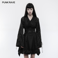 Punk Rave Jacquard Japanese style Long Sleeves V neck fashion Girl's Party Retro Pinup Black Shirt Top WY855
