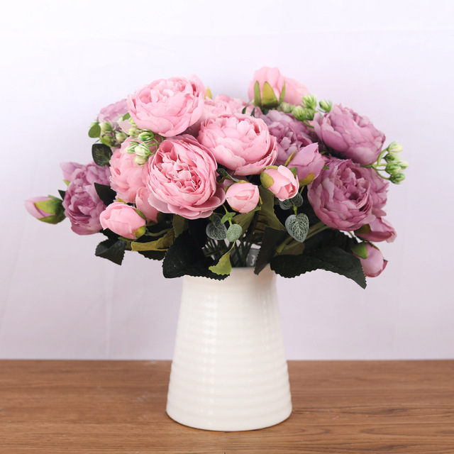 30cm Rose Pink Silk Bouquet Peony Artificial Flowers 5 Big Heads 4 Small Bud Bride Wedding Home Decoration Fake Flowers Faux 2