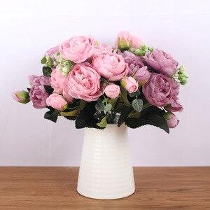 Image 2 - 30cm gül pembe ipek buket şakayık yapay çiçekler 5 büyük kafaları 4 küçük tomurcuk gelin düğün ev dekorasyon sahte çiçekler sahte